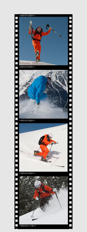 photo reel of a telemark skier practicing image of