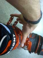 reviewing telemark ski boots image of