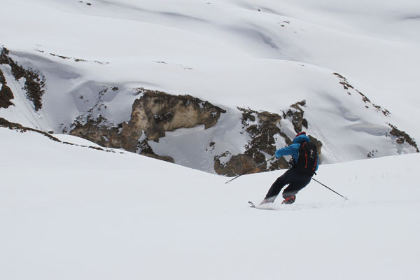 Telemark Skier testing new skis image of