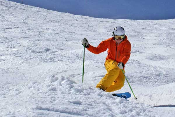 telemark skier in the bumps image of